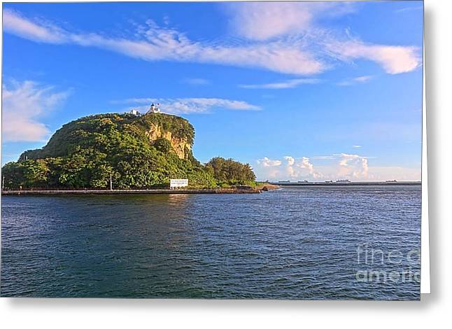 Greeting Card featuring the photograph Historic Lighthouse On Chijin Island by Yali Shi