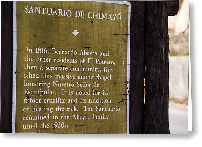 Historic Marker For The Santuario Greeting Card