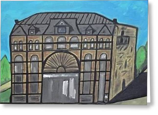 Historic Menominee Michigan Downtown Opera House Painting. Greeting Card