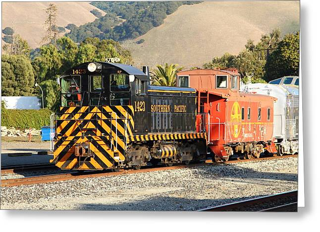 Old Cabooses Greeting Cards - Historic Niles Trains in California . Old Southern Pacific Locomotive and Sante Fe Caboose . 7D10821 Greeting Card by Wingsdomain Art and Photography