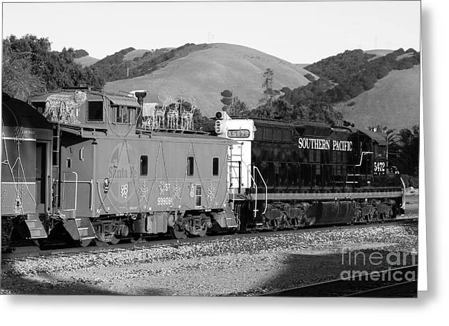 Old Cabooses Greeting Cards - Historic Niles Trains in California . Southern Pacific Locomotive and Sante Fe Caboose.7D10843.bw Greeting Card by Wingsdomain Art and Photography