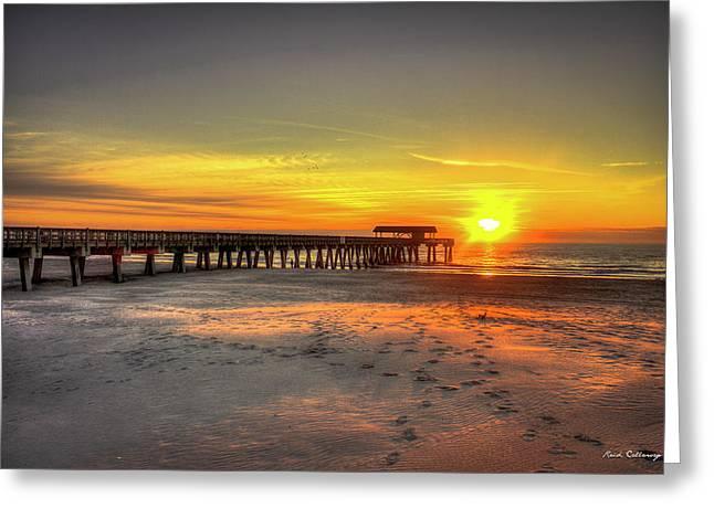 Historic Pier Tybee Island Sunrise Art Greeting Card by Reid Callaway