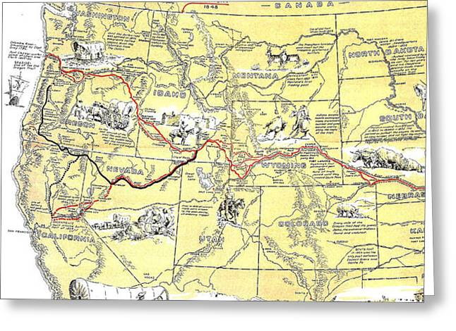 Historic Pioneer Trails Map 1843-1866 Greeting Card