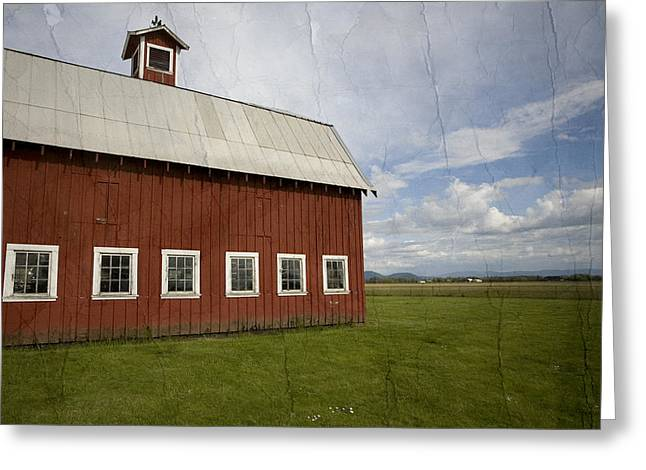 Farm Mixed Media Greeting Cards - Historic Red Barn Greeting Card by Bonnie Bruno