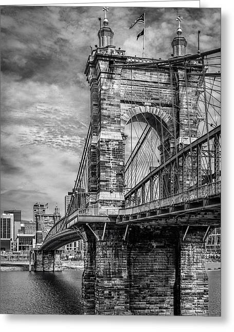Historic Roebling Bridge Greeting Card by Diana Boyd