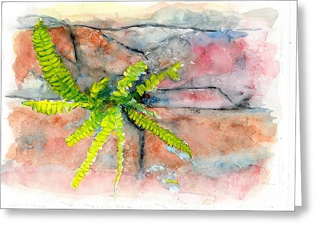 Greeting Card featuring the painting Historic Savannah Wall Weed by Doris Blessington