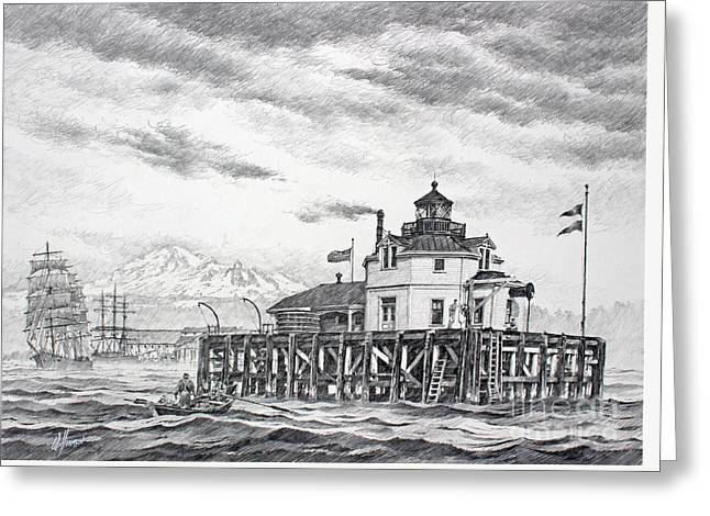 Historic Semiahmoo Lighthouse  Greeting Card by James Williamson