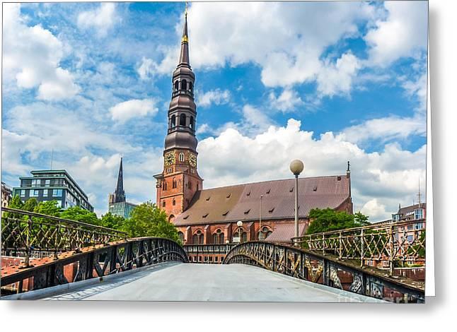 Historic St. Catherine's Church In Hamburg, Germany Greeting Card