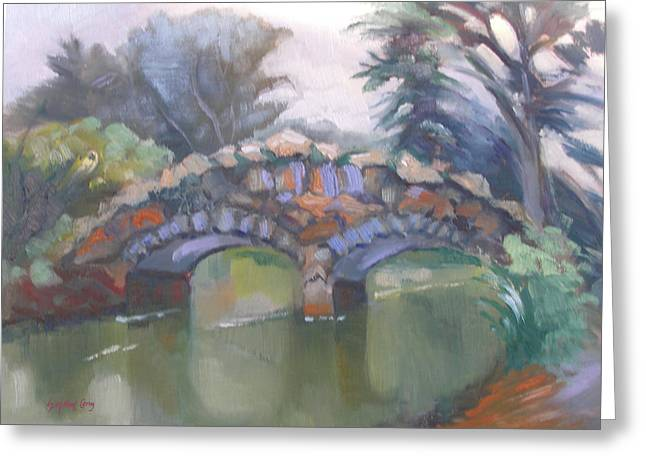 Historic Stone Footbridge From Path Greeting Card
