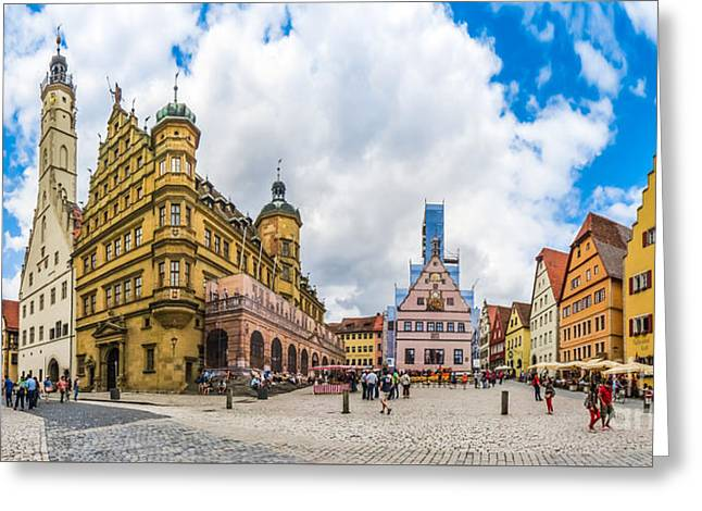 Historic Townsquare Of Rothenburg Ob Der Tauber, Franconia, Bava Greeting Card