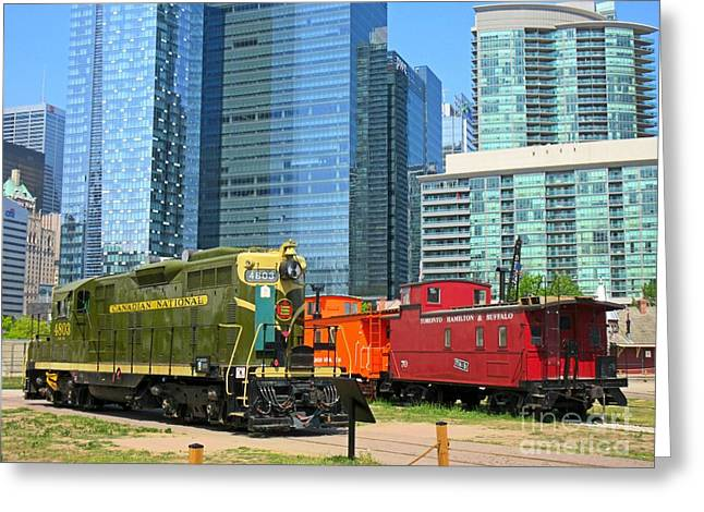 Historic Train Engine And Caboose At Roundhouse Park Toronto Greeting Card
