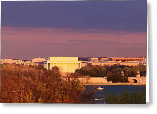 Historic Washington Dc Skyline At Dusk Greeting Card by Panoramic Images