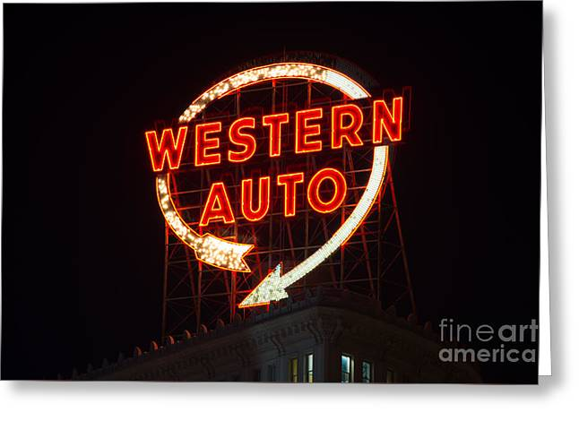 Historic Western Auto Sign Greeting Card by Jean Hutchison