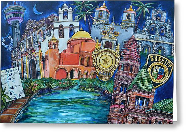 Greeting Card featuring the painting Historical 401s San Antonio by Patti Schermerhorn