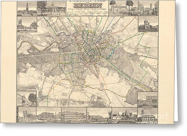 Historical Map Of Berlin, 1838 Greeting Card
