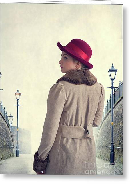 Greeting Card featuring the photograph Historical Woman In An Overcoat And Red Hat by Lee Avison