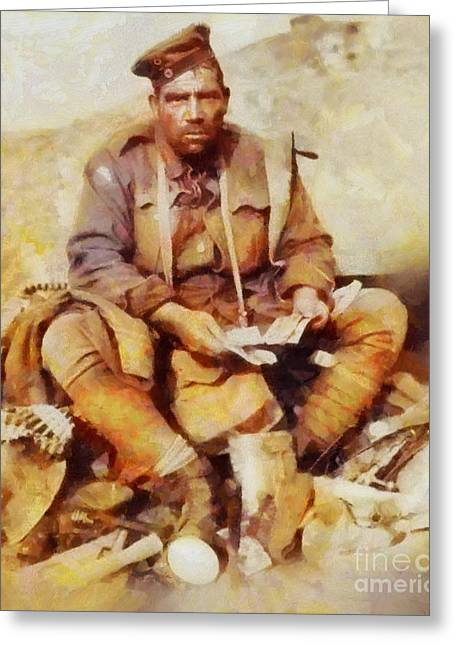 History In Color. Australian Soldier Pvt Barney Hines Wwi Greeting Card by Sarah Kirk