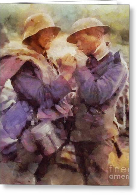 History In Color. Wwi Truce In The Trenches Greeting Card by Sarah Kirk