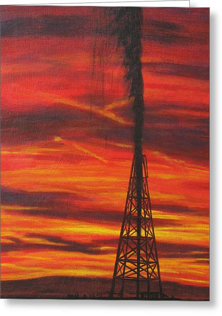 Peterson Greeting Cards - Hit Oil Greeting Card by Karen  Peterson