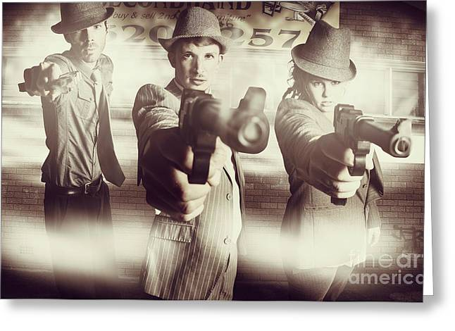 Hit Squad Gangsters Greeting Card by Jorgo Photography - Wall Art Gallery