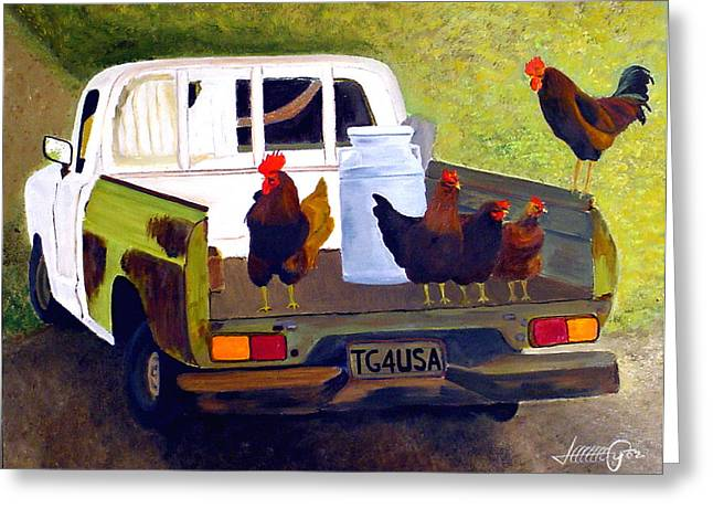 Hitchin' A Ride To Town Greeting Card by JoeRay Kelley