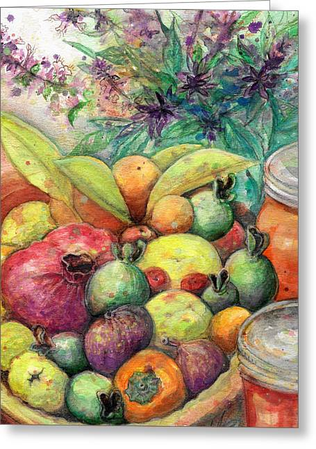Greeting Card featuring the painting Hitching Post Harvest by Ashley Kujan