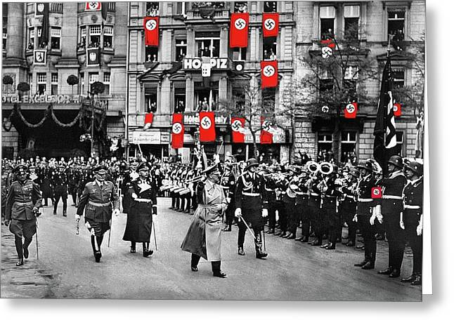 Hitler Goering And Himmler Marching In Front Of Hotel Excelsior Berlin Circa 1934 Color Added 2016 Greeting Card by David Lee Guss