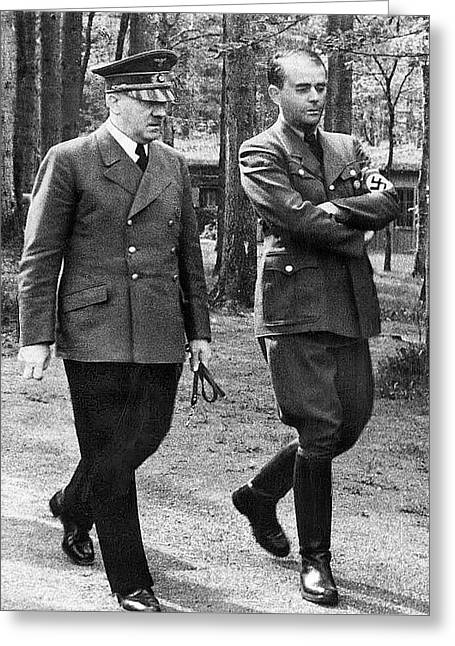 Hitler Strolling With Albert Speer Unknown Date Or Location Greeting Card by David Lee Guss