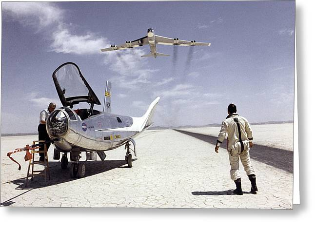 Hl-10 On Lakebed With B-52 Flyby Greeting Card