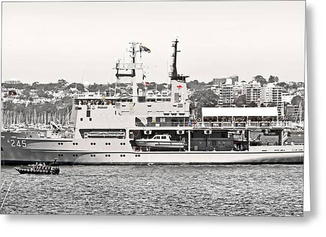 Hmas Leeuwin In Black White And Red Greeting Card by Miroslava Jurcik