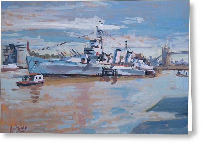 Hms Belfast Shows Off In The Sun Greeting Card