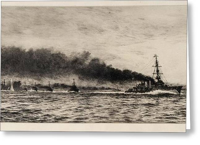 Hms Champion And The 13th Flotilla At The Battle Of Jutland Greeting Card
