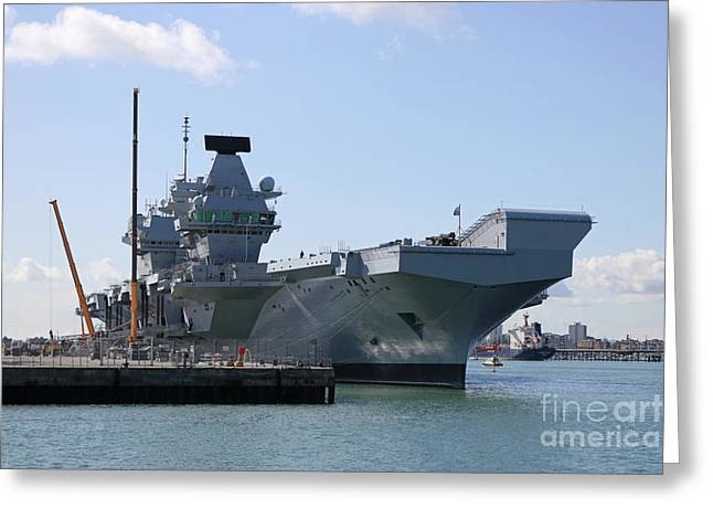 Hms Queen Elizabeth Aircraft Carrier At Portmouth Harbour Greeting Card