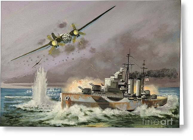 Hms Ulysses Attacked By Heinkel IIis Off North Cape Greeting Card