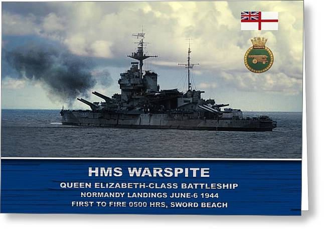 Greeting Card featuring the digital art Hms Warspite by John Wills