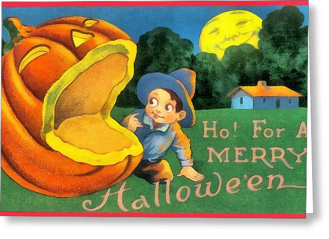 Ho For A Merry Halloween Greeting Card by Unknown