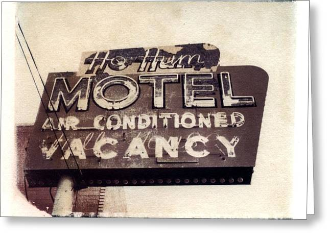 Transfer Greeting Cards - Ho Hum Motel Polaroid transfer Greeting Card by Jane Linders