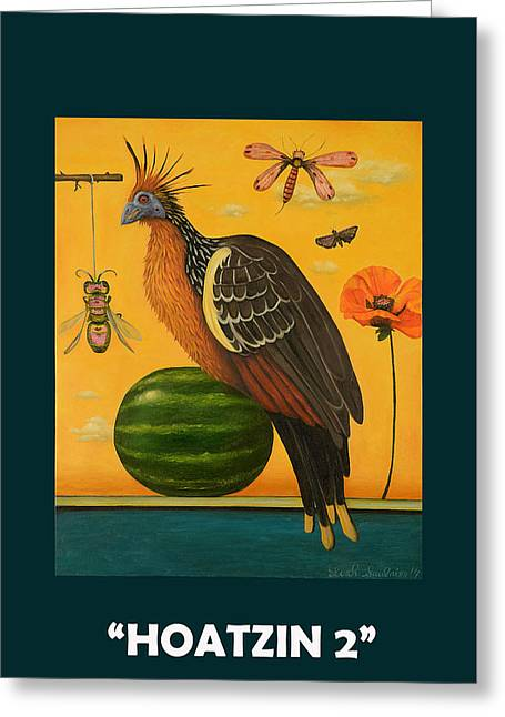 Hoatzin 2 With Lettering Greeting Card by Leah Saulnier The Painting Maniac