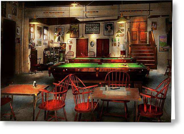 Greeting Card featuring the photograph Hobby - Pool - The Billiards Club 1915 by Mike Savad