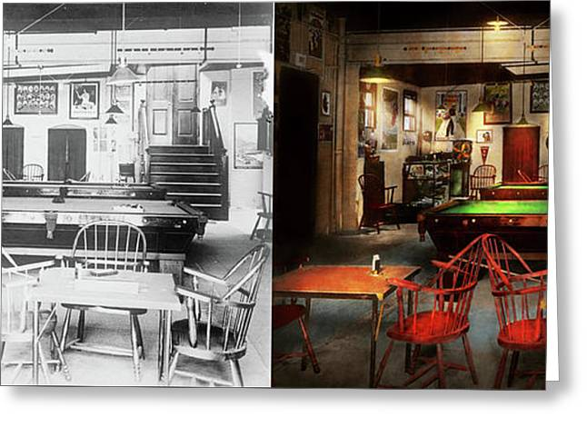 Greeting Card featuring the photograph Hobby - Pool - The Billiards Club 1915 - Side By Side by Mike Savad