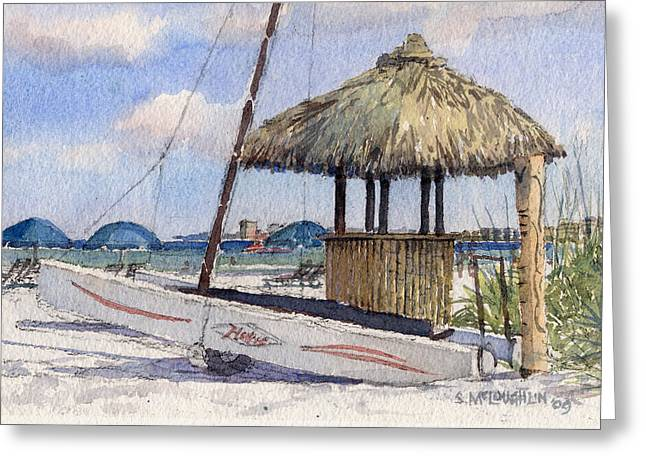 Hobie And Tiki On Crescent Beach Greeting Card by Shawn McLoughlin