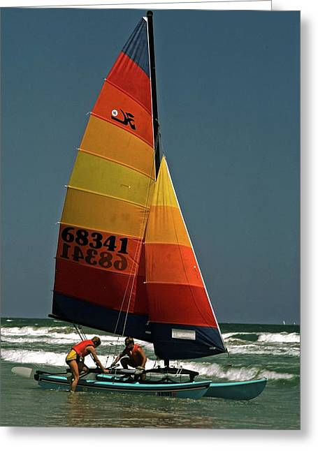 Greeting Card featuring the photograph Hobie Cat In Surf by Sally Weigand