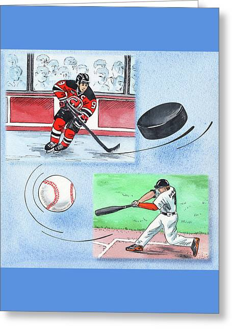 Hockey And Baseball Greeting Card by Irina Sztukowski
