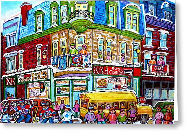 Hockey Art Winter Street Painting Double Pizza Restaurant Scenes Canadian Artist Carole Spandau      Greeting Card by Carole Spandau