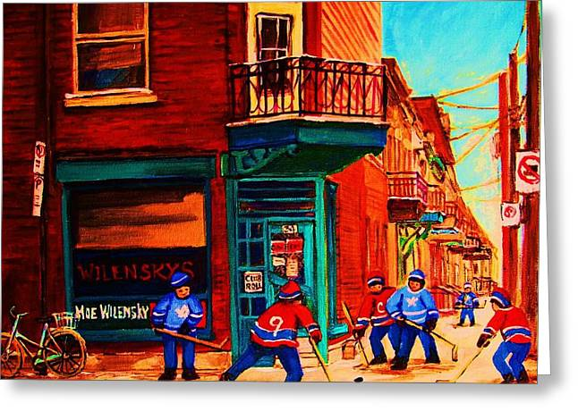 Hockey At Wilenskys Corner Greeting Card by Carole Spandau