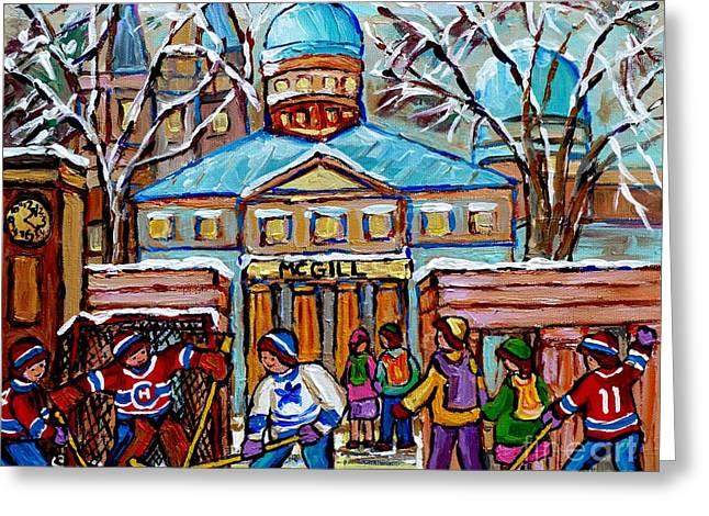Hockey Game At Roddick Gates Mcgill University Rue Sherbrooke Winter Scene Carole Spandau Paintings  Greeting Card by Carole Spandau