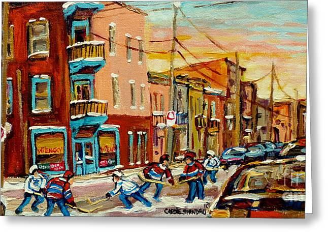 Hockey Paintings Greeting Cards - Hockey Game Fairmount And Clark Wilenskys Diner Greeting Card by Carole Spandau