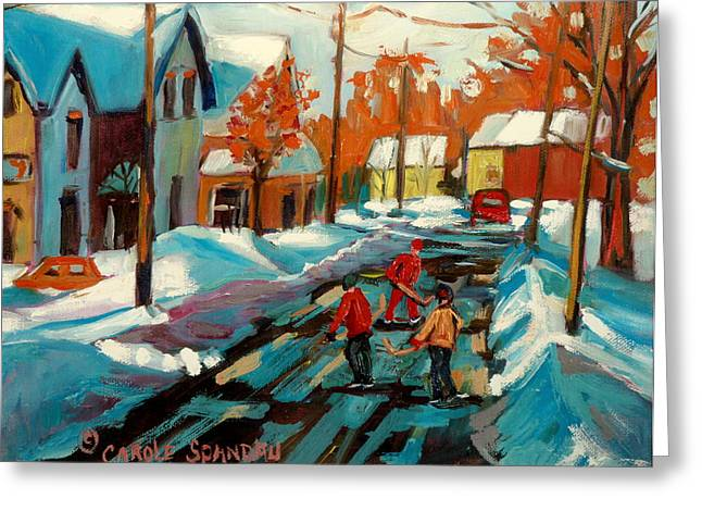 Hockey Game In Ville St Laurent Montreal Streetscenes Greeting Card by Carole Spandau