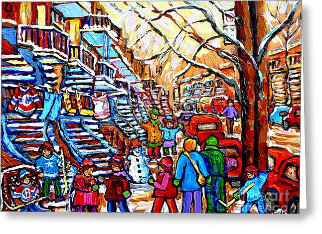 Hockey Game Off Rue Wellington Colorful Kids Painting Verdun Montreal Blue Winding Staircase Scene Greeting Card