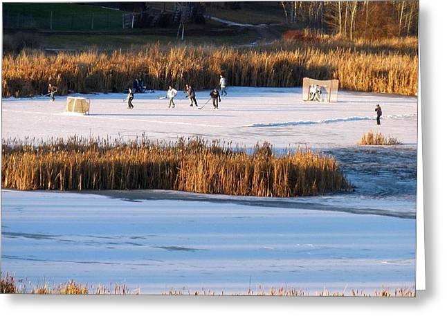 Country Hockey Greeting Cards - Hockey Game Greeting Card by Will Borden